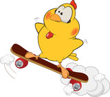 Yellow chicken and skate board cartoon