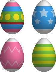 Decorated Easter Eggs 3d Vector Drawing Set