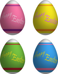 Decorated Happy Easter Eggs 3d Vector Drawing Set
