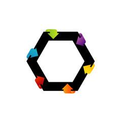 Hexagonal design element with arrows