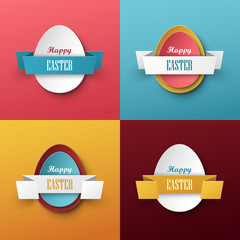 Bright vector easter labels