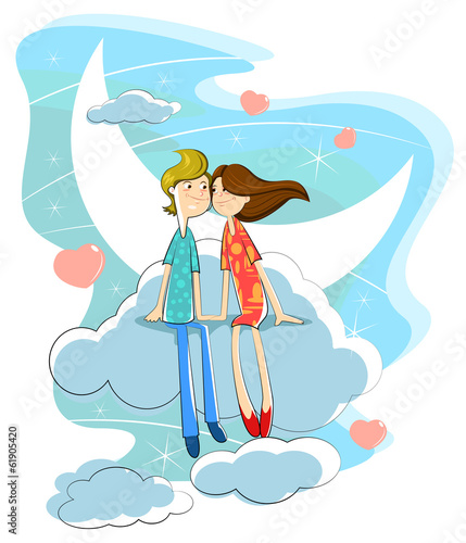 Love couple on cloud
