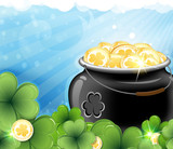 Leprechaun treasure and shamrock clover