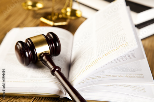 Wooden gavel barrister, justice concept, legal system