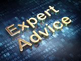 Law concept: Golden Expert Advice on digital background