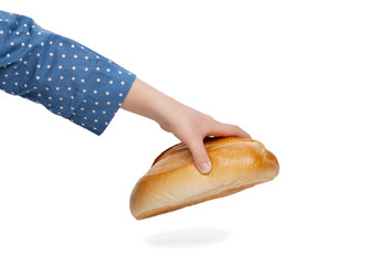 Child stretching hand to grab a bun isolated on white background