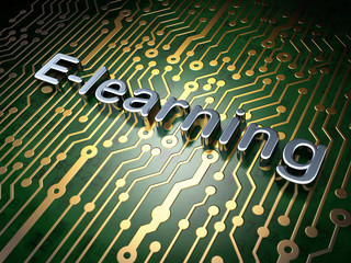 Education concept: E-learning on circuit board background