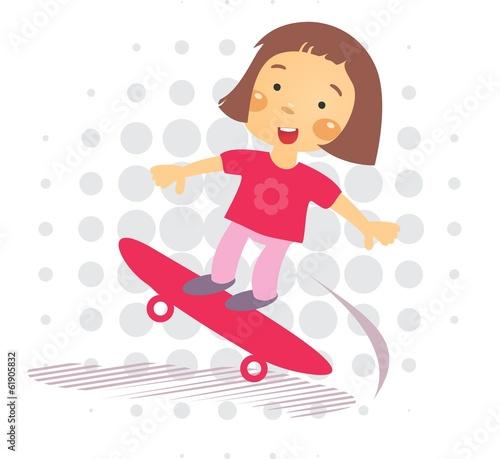 Skater little Girl - Illustration