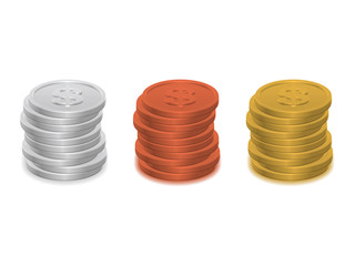 Piles of coins isolated on white background