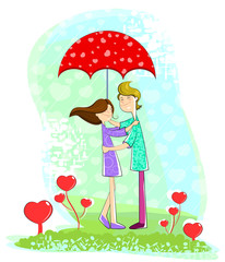 Love couple under umbrella