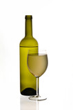Special white wine bottle and glass