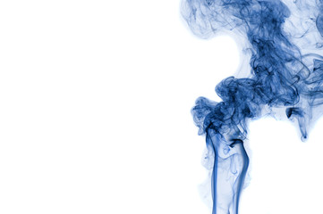 Abstract blue smoke isolated on white