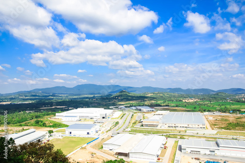industrial estates zone with cloud blue sky and shadow