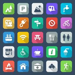 flat camping iconset