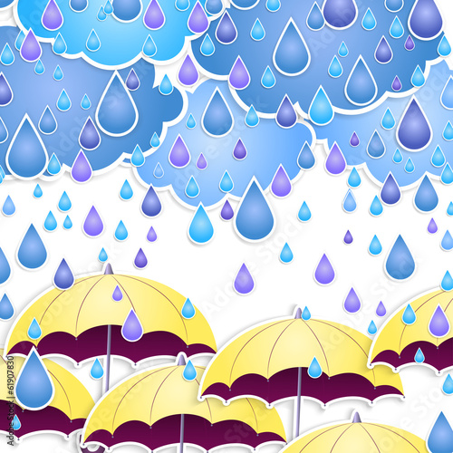 Vector umbrella and rain drops.