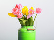 Bunch of spring tulips flowers in metal pot isolated on white