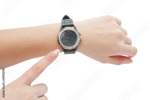 wrist watch and the hand as a pointer