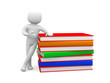 3d small person and big stack of colorful books.Isolated on whit