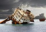 The sunken shipwreck.