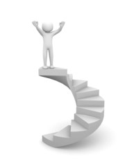 3d people climb the staircase - stair. 3d render illustration