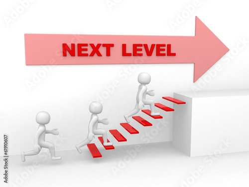 3d man climbs the ladder of next level - 3d render
