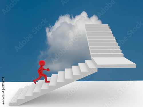 3d people climb the staircase - stair. 3d render