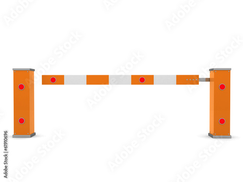 Closed Car Barrier isolated on white - 3d render