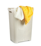 Terry towels in a laundry basket isolated on white background