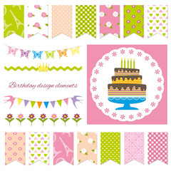 Birthday party design elements.