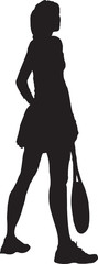 silhouette of the girl with a tennis racket
