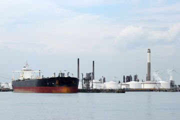 Large oil tanker in port