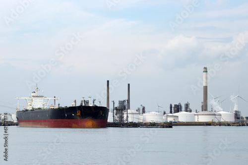 Large oil tanker in port