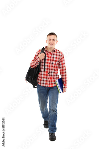 Happy male student smiling