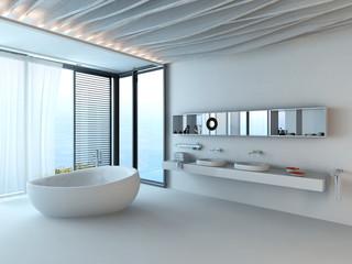 Modern luxury bathroom interior with white bathtub