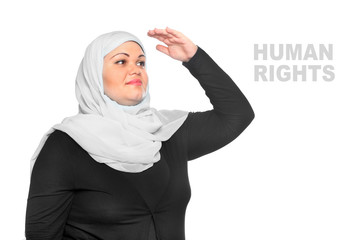 Young muslim woman looking to future.