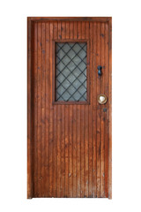 Front door with window made of vertical planks isolated on white