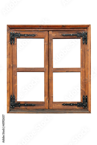 Wooden casement window with decorative strap hinges isolated