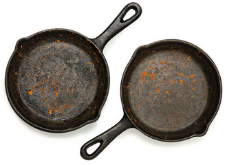 Set of Two Rusty Cast Iron Skillets