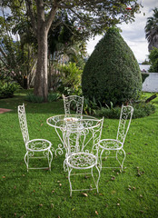 Garden table and chairs in a backyard