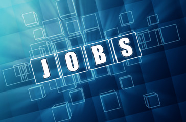 jobs in blue glass cubes