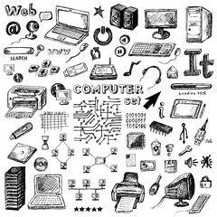 Set of hand drawn computer icons