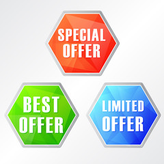 special, best, limited offer, three colors hexagons web icons