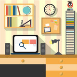 Flat design work and study room