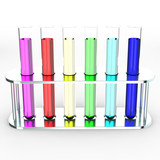 Laboratory test tubes with colorful liquids, 3d