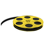 Golden film reel with film strip