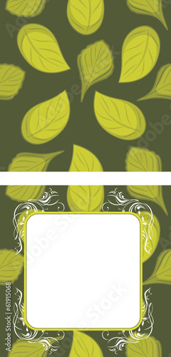 Seamless leafy background and decorative frame