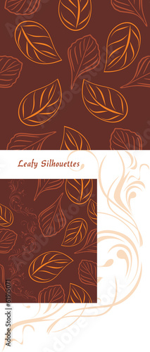 Leafy silhouettes on a brown background