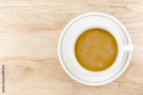 coffee on wood table
