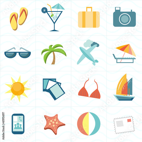Travel flat simple set of icons