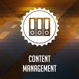 Content Management on Triangle Background.